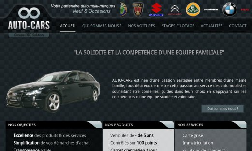 Site Auto-cars par Aire Libre, version desktop