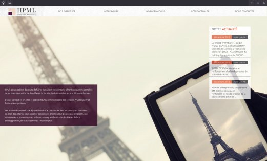 Site HPML Avocats par Aire Libre, version desktop