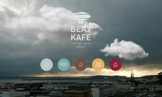 Site Beaj Kafé par Aire Libre, version desktop